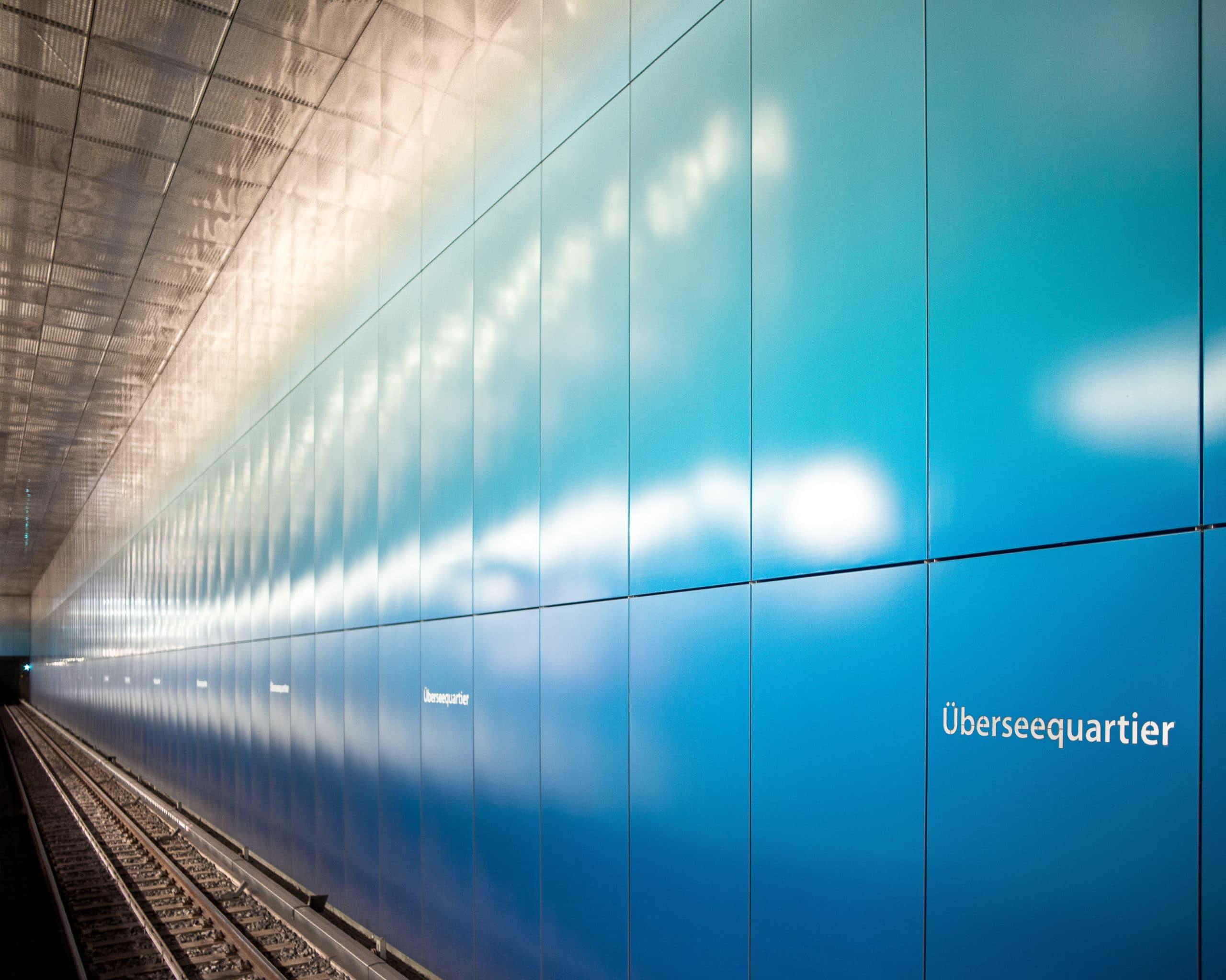 Architektur Aufnahme der Haltestelle Hamburg Überseequartier |Architekturfotograf in Osnabrück Münster Bielefeld NRW Niedersachsen und bundesweit