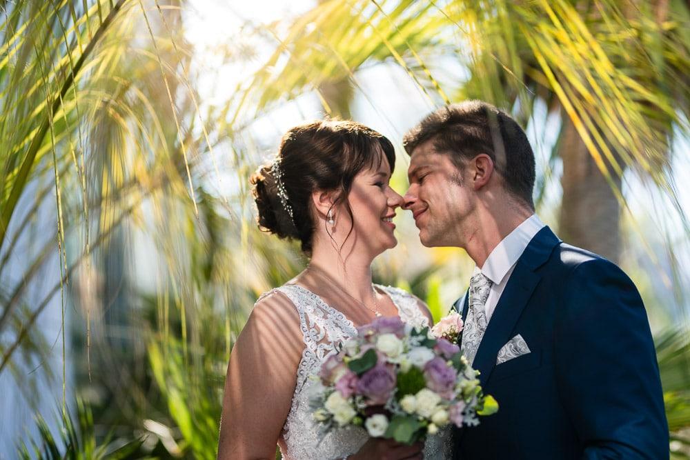 Hochzeitsportrait von Anika und Roman bei ihrer Hochzeit unter Palmen |Hochzeitsfotograf Osnabrück Münster Bielefeld