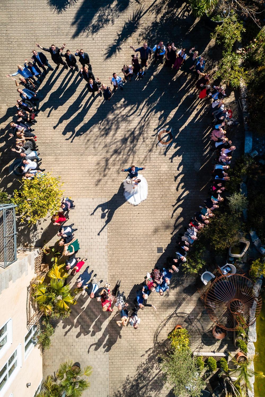 Gruppenfoto Hochzeit mit Drohne