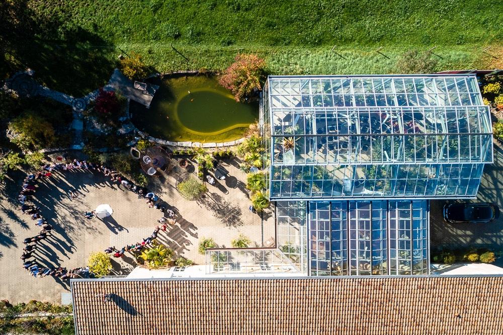 Drohne Hochzeitsfoto von oben